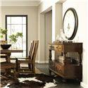 Riverside Furniture Newburgh Alder Hardwood Solid Side Chair - 37457 - Shown with Server and Rectangular Dining Table