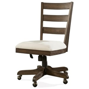 Wood Back Upholstered Desk Chair