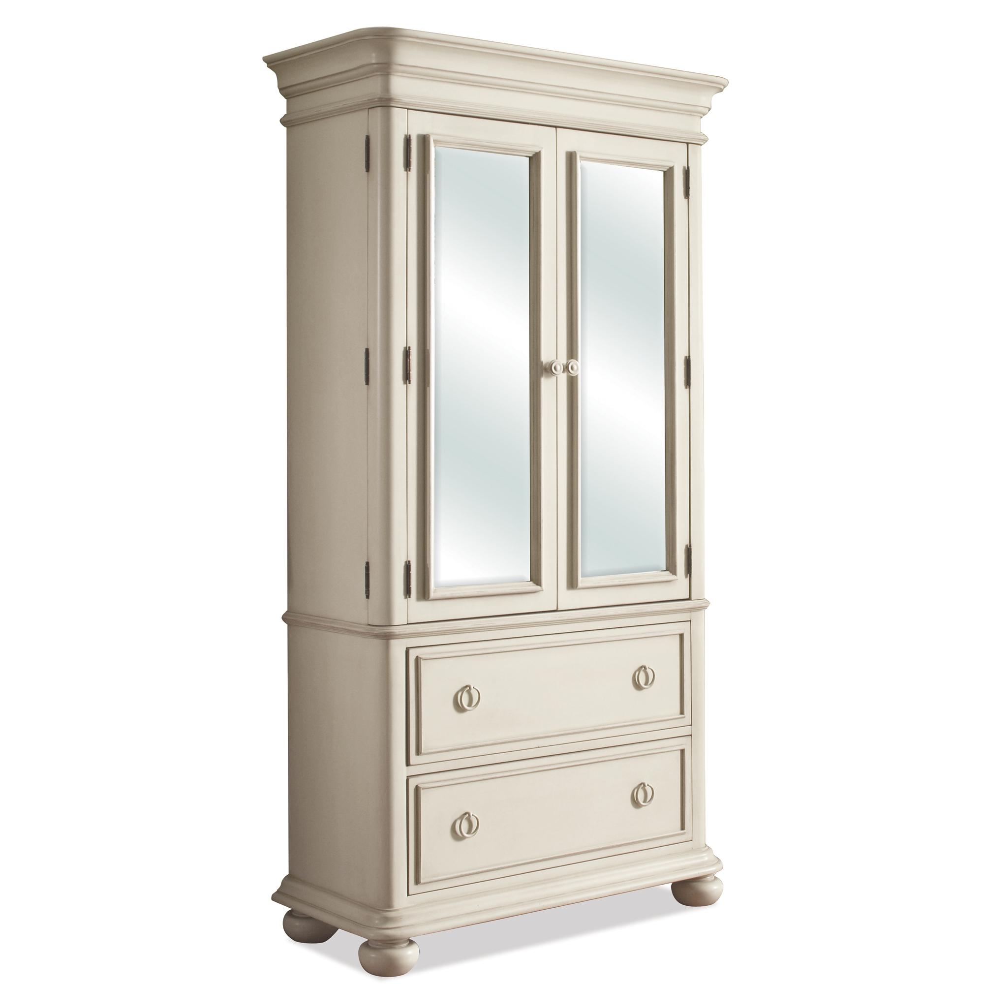 Placid Cove Mirrored 2 Door Armoire With 2 Drawers By Riverside Furniture