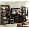 Riverside Furniture Promenade  Canted Bookcase with 5 Shelves - Shown as Wall Unit in Room Setting