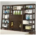 Riverside Furniture Promenade  Canted Bookcase with 5 Shelves - Shown with Drop-Front Desk