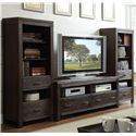 Riverside Furniture Promenade  2 Drawer Etagere Pier with 4 Shelves - Shown with Console as Entertainment Wall Unit