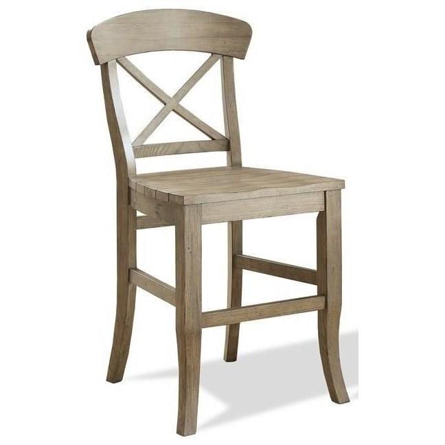 Riverside Furniture Regan X Back Counter Stool With Saddle