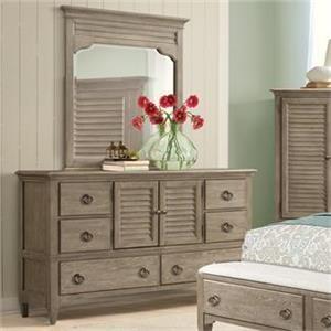 Myra Natural Shutter Door Dresser and Mirror