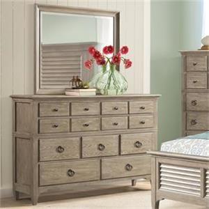 Myra Natural Drawer Dresser and Mirror