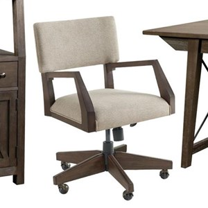Transitional Upholstered Rolling Desk Chair
