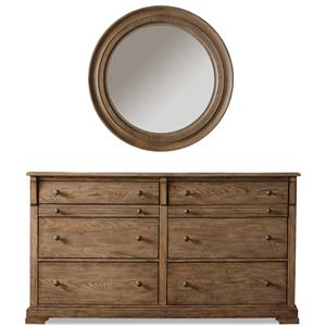 Riverside Furniture Sherborne Dresser & Round Accent Mirror Set