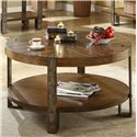 Riverside Furniture Sierra Round Wooden Coffee Table with Metal Legs - Shown in Room Setting