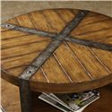 Riverside Furniture Sierra Round Wooden Coffee Table with Metal Legs - Top View