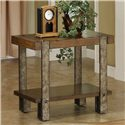 Riverside Furniture Sierra Rustic Chairside Table with Metal Legs - Shown in Room Setting