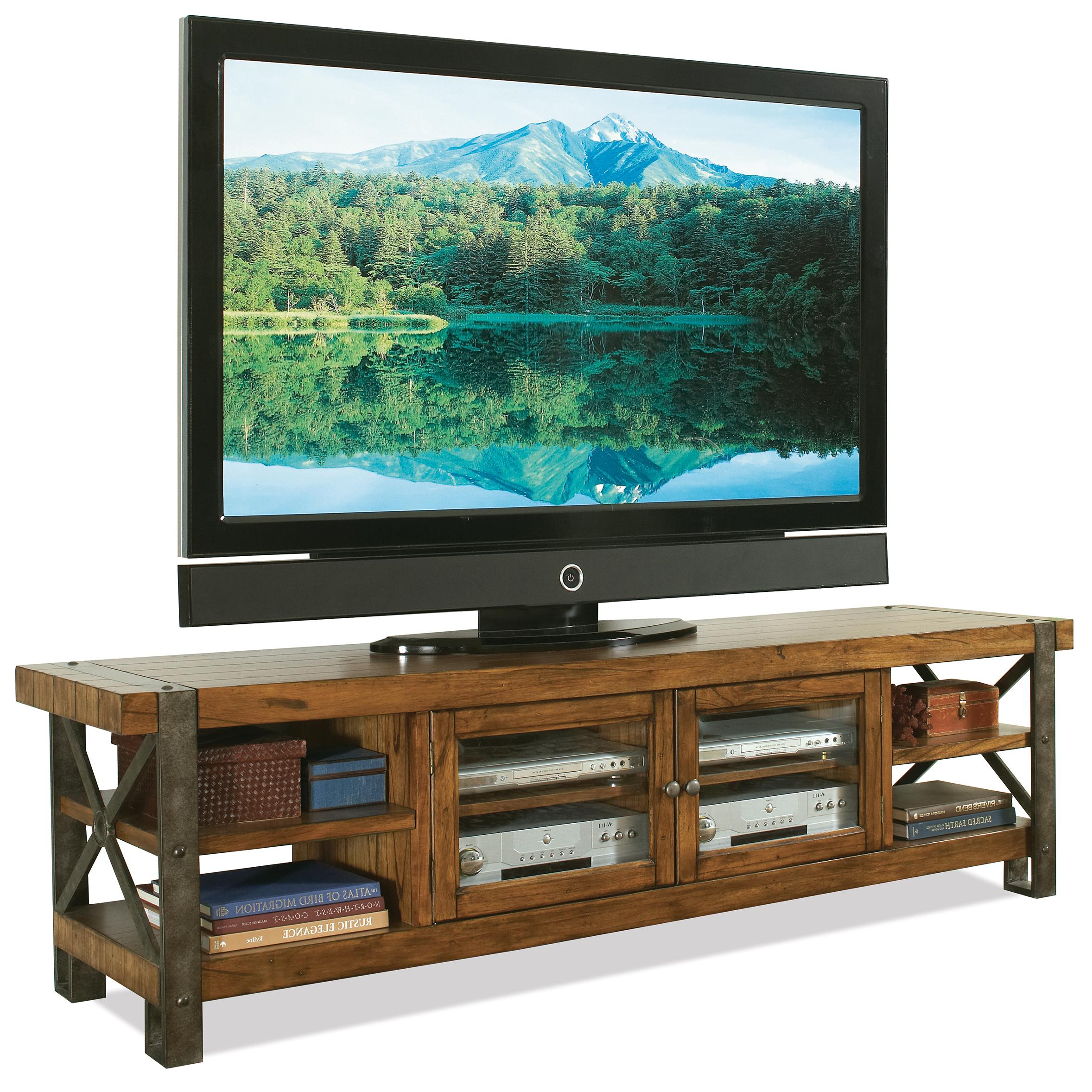 Riverside Furniture Sierra Rustic 80 In Tv Console w Glass Doors