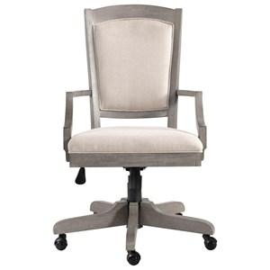 Transitional Upholstered Desk Chair with Adjustable Height