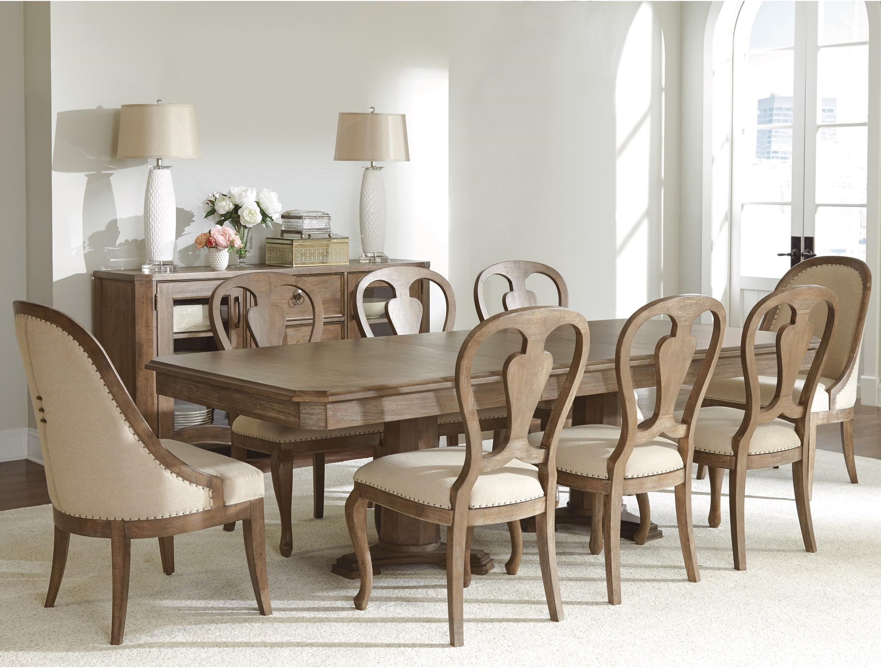 Riverside Furniture Somerset Lane 9 Piece Double Pedestal Table and ...