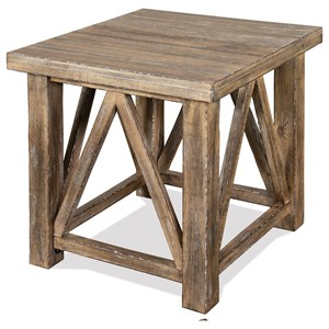 Rustic End Table in Snowy Desert Finish