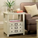 Riverside Furniture Sullivan 2 Drawer End Table in Country White
