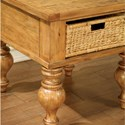 Riverside Furniture Summer Hill Side Table with Removable Woven Storage Basket
