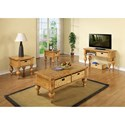 Riverside Furniture Summer Hill Sofa Table with 2 Removable Woven Storage Baskets