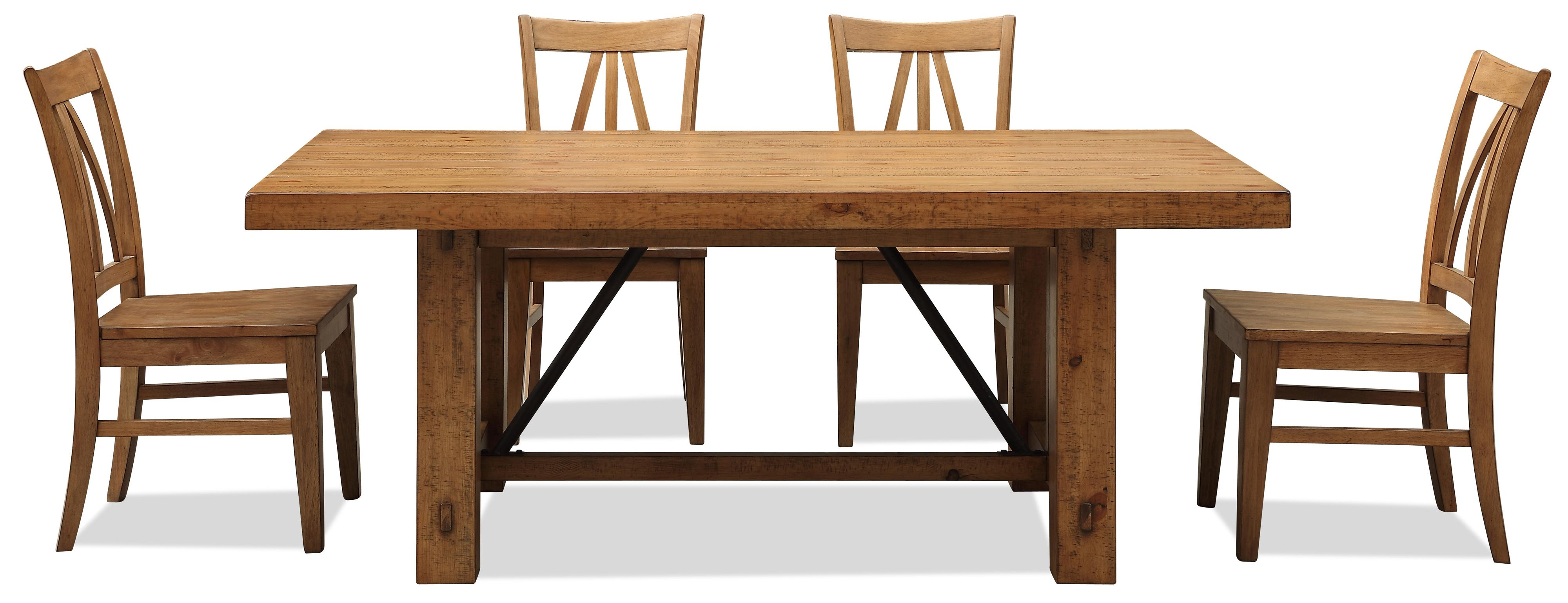 Riverside Furniture Summer Hill 5 Piece Rustic Dining Table ...