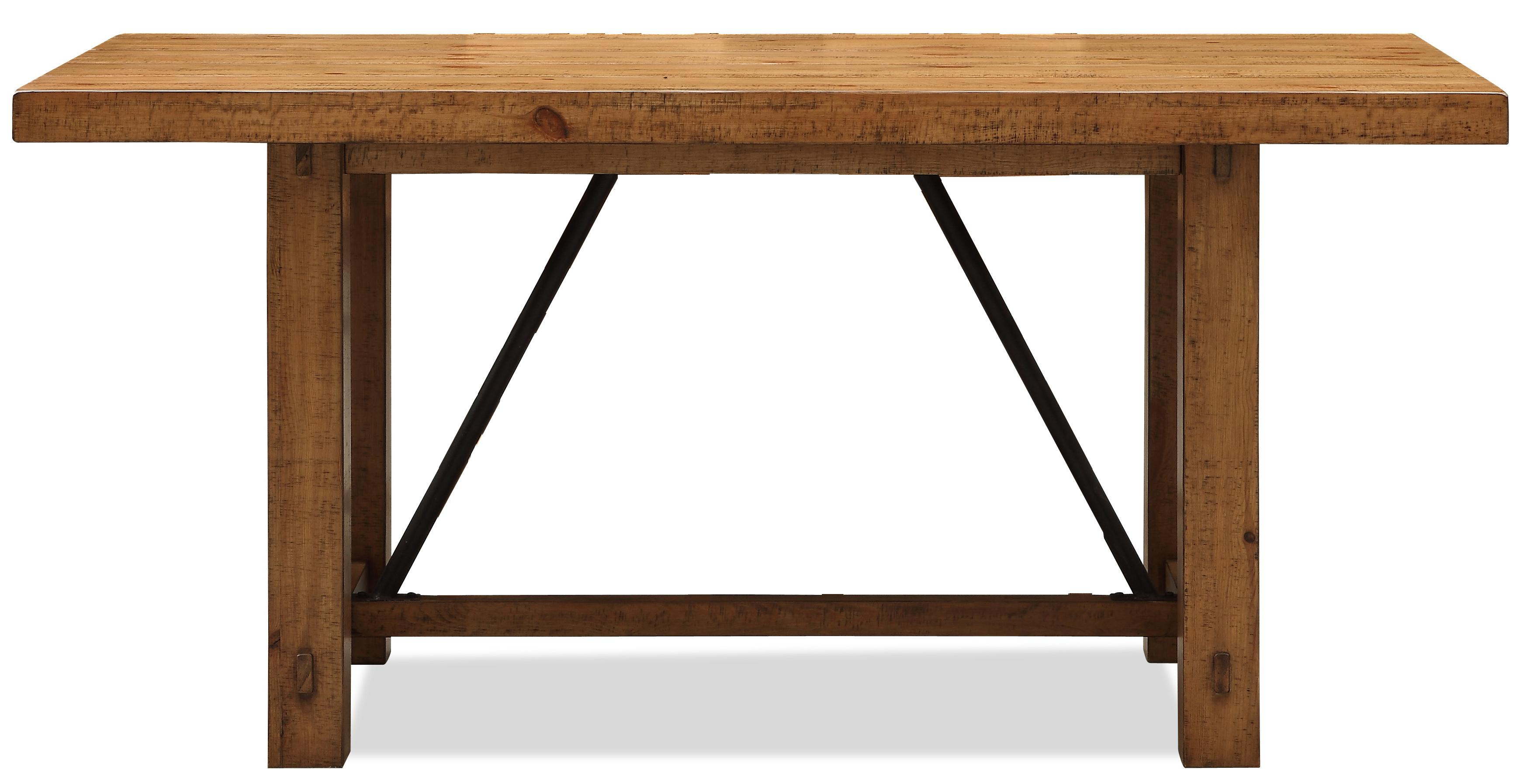 Summer Hill Rustic Gathering Table With Metal Angle Supports By Riverside  Furniture