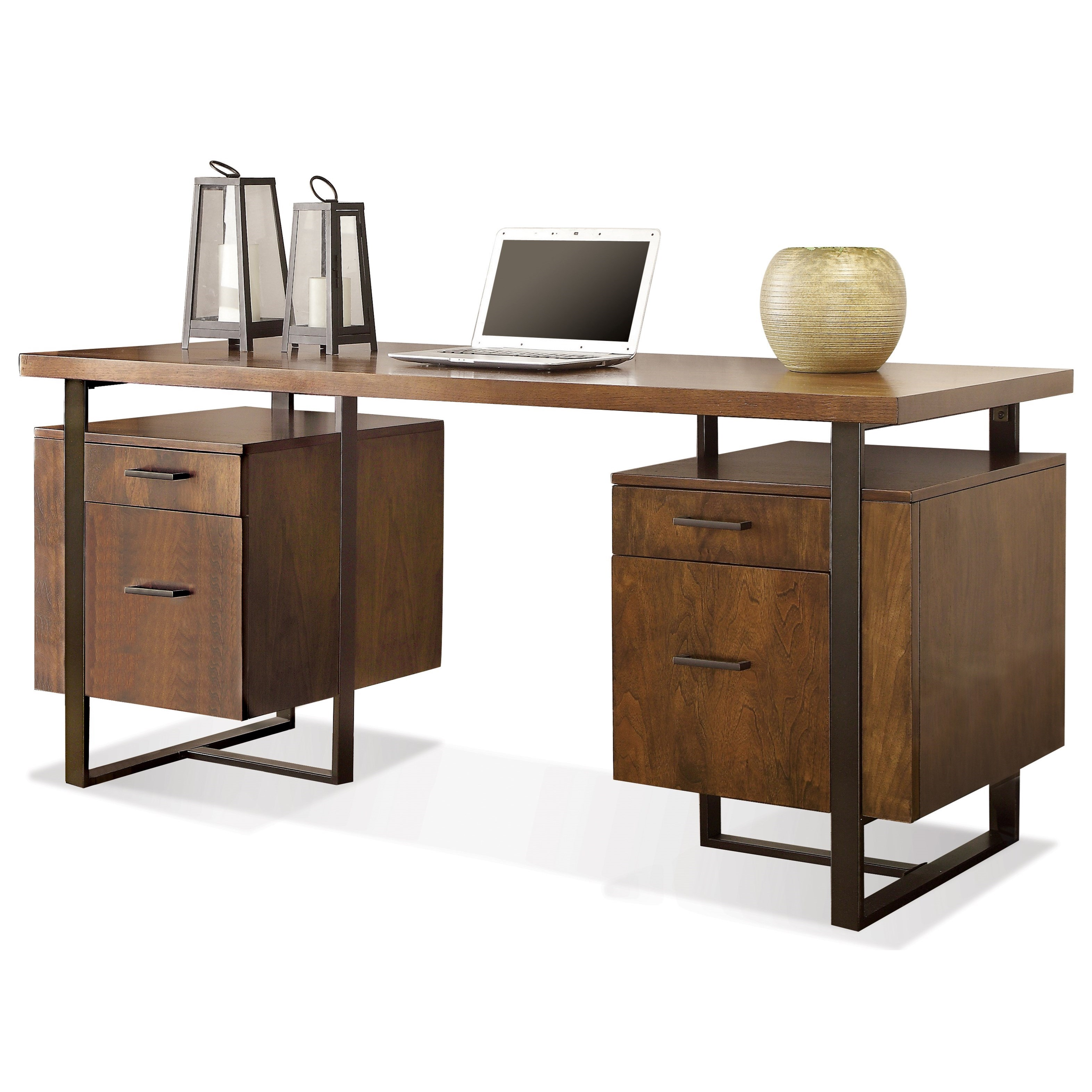 Riverside Furniture Terra Vista 98832 Double Pedestal Desk With File Drawers Dunk Bright
