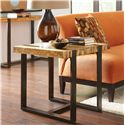 Riverside Furniture Teton Distressed End Table with Metal Base  - Shown in Room Setting
