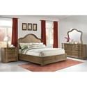 Riverside Furniture Verona Queen Panel Bed with Shaped Headboard