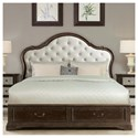 Riverside Furniture Verona California King Upholstered Storage Bed with 2 Footboard Drawers