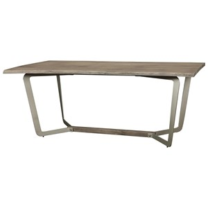 Live-Edge Dining Table in Sandblasted Gray Finish