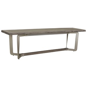 Live-Edge Dining Bench in Sandblasted Gray Finish