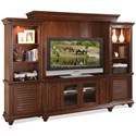 Riverside Furniture Windward Bay 63 Inch TV Console with Adjustable Shelving - Shown with Piers