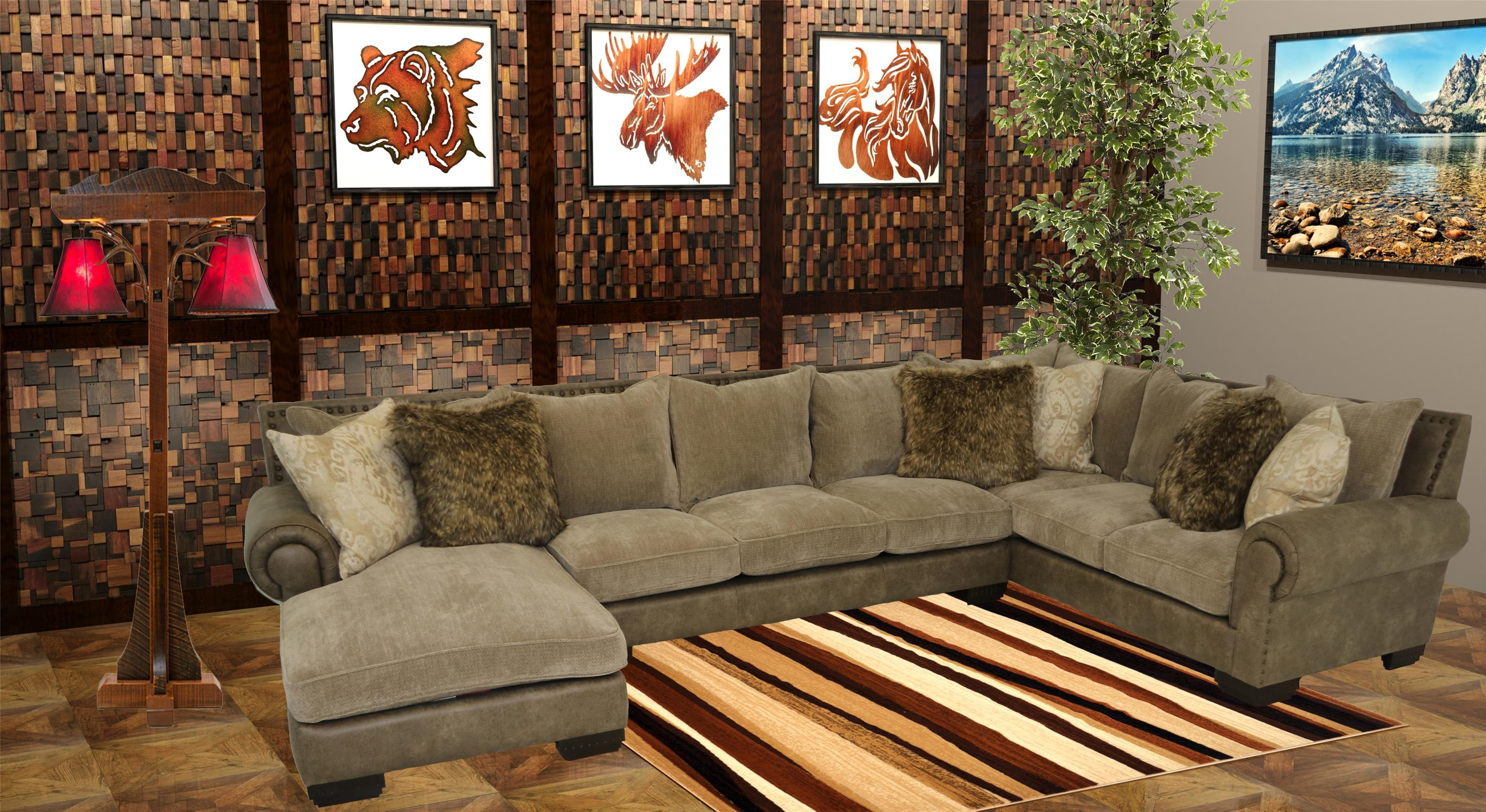 Reeds Trading Company 3000 3 Piece Sectional - Item Number: 3000-AL Sofa+Laf Chaise+Raf Tux