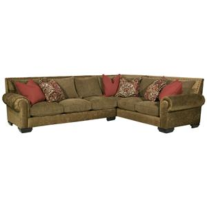 Robert Michael Jackson Ii Traditional Styled Sectional Sofa With Fancy Wood Feet And Nail Head Trim