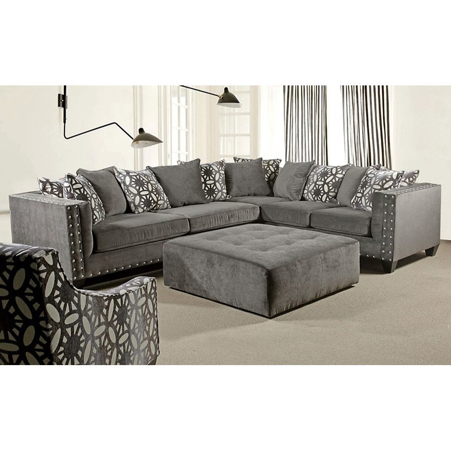 Del Sol Exclusive Roxanne by Robert Michael Upholstered Sectional Sofa - Item Number: ROX-LAFSOFA+RAFLOVESEAT-ASHCHOC
