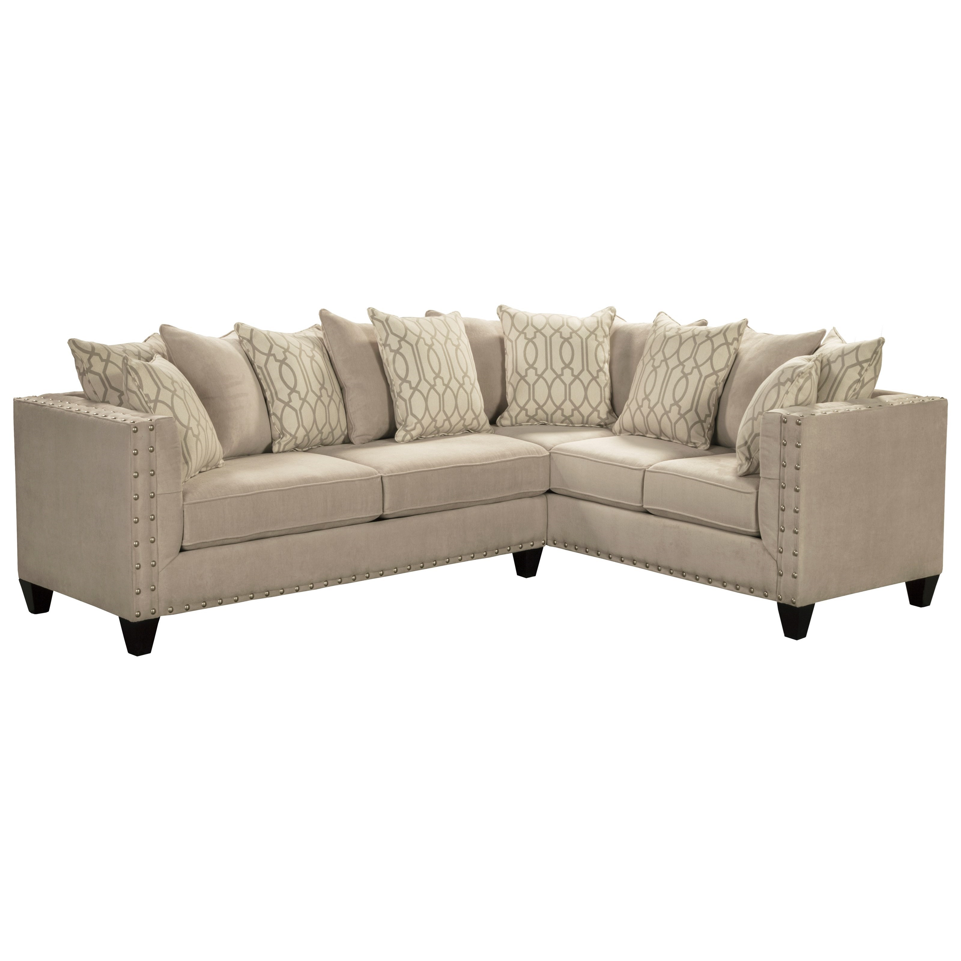 Del Sol Exclusive Roxanne by Robert Michael Upholstered Sectional Sofa - Item Number: ROX-LAFSOFA+RAFLOVESEAT-SMOKEOYSTER