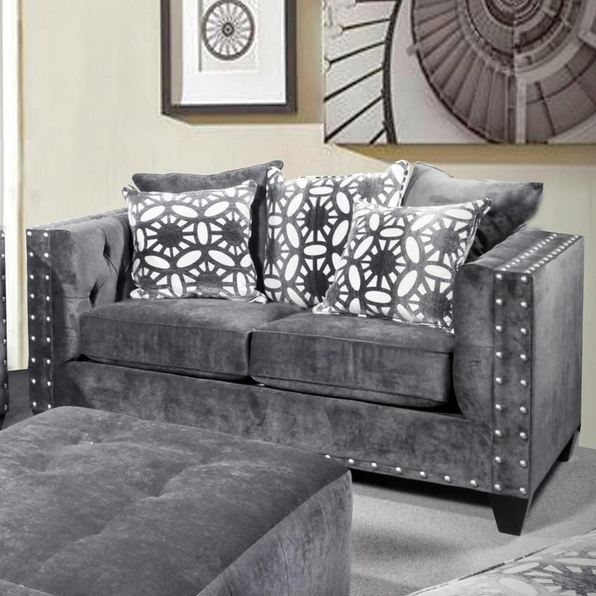 Del Sol Exclusive Roxanne by Robert Michael Upholstered Loveseat - Item Number: ROX-LOVESEAT-ASHCHOCOLATE