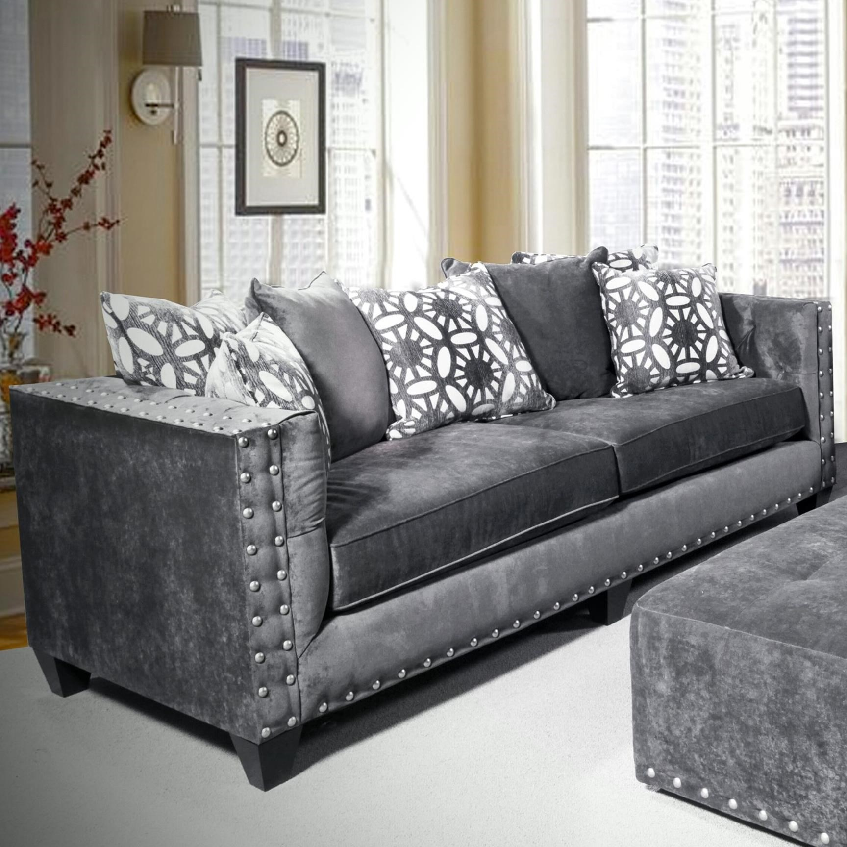 Del Sol Exclusive Roxanne by Robert Michael Upholstered Sofa - Item Number: ROX-SOFA-ASHCHOCOLATE