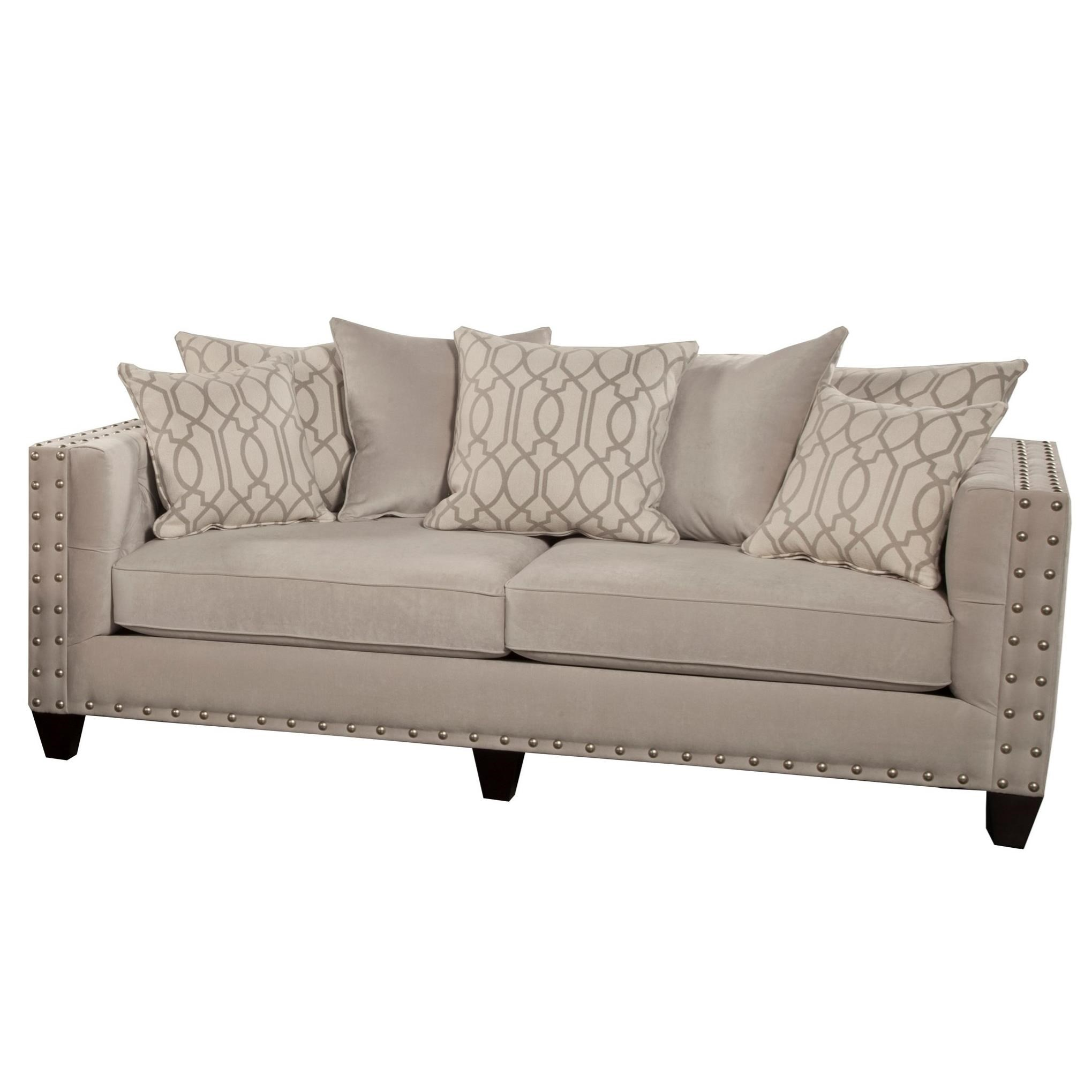 Del Sol Exclusive Roxanne by Robert Michael Upholstered Sofa - Item Number: ROX-SOFA-SMOKEOYSTER
