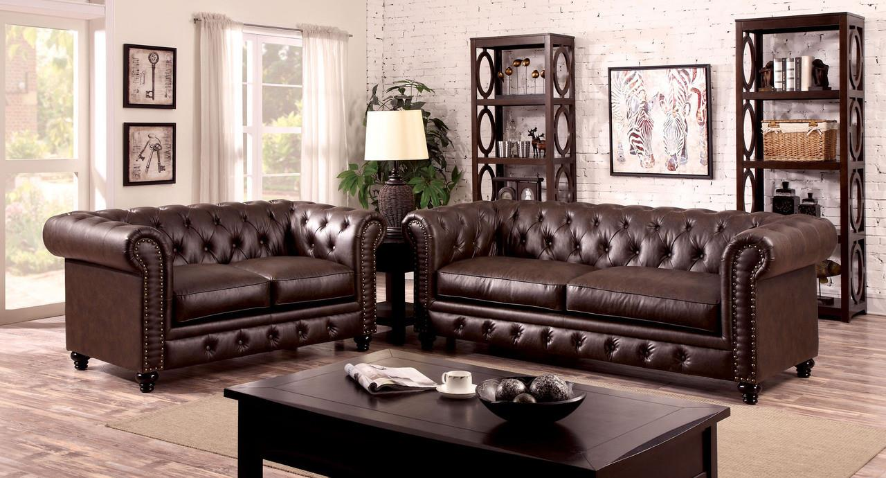 Furniture of America / Import Direct Stanford Sofa & Love Seat - Item Number: CM6269BR-SF+CM6269BR-LV