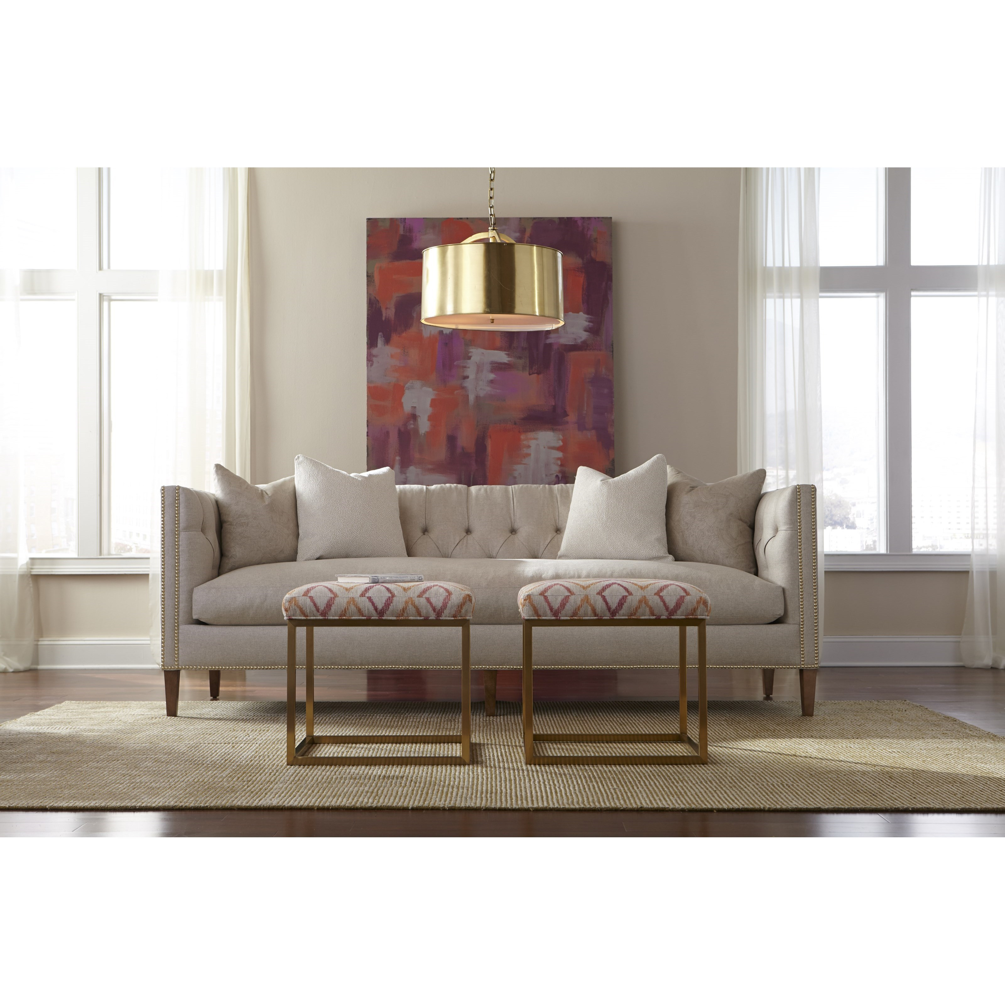 Robin Bruce Brette Tufted Back Tuxedo Arm Sofa With Bench