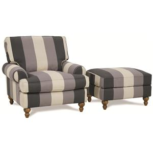 FB Home Cindy Upholstered Chair and Ottoman