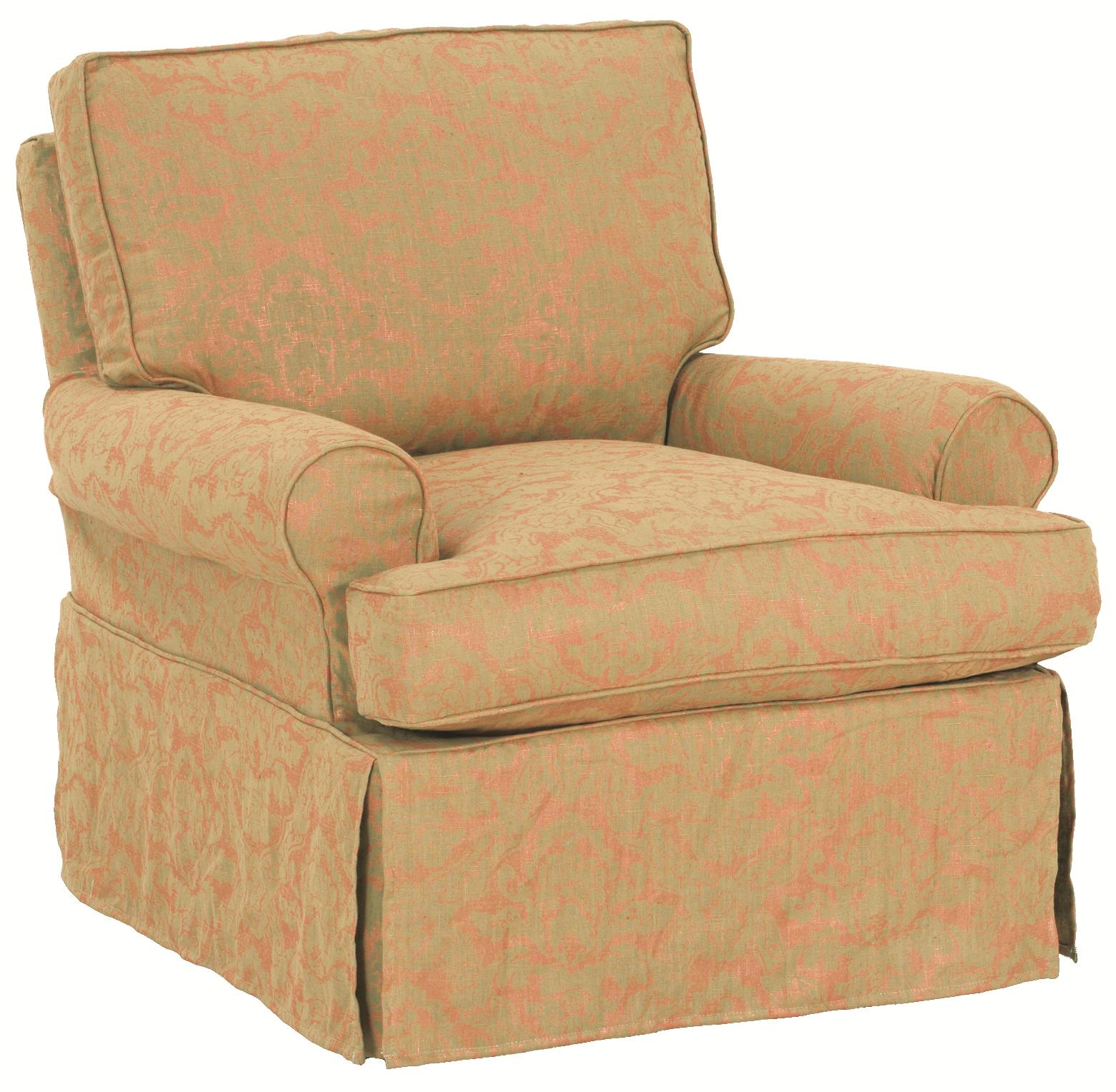 Accent Chairs Luci Slipcover Swivel Glider With Traditional Skirt By Robin  Bruce