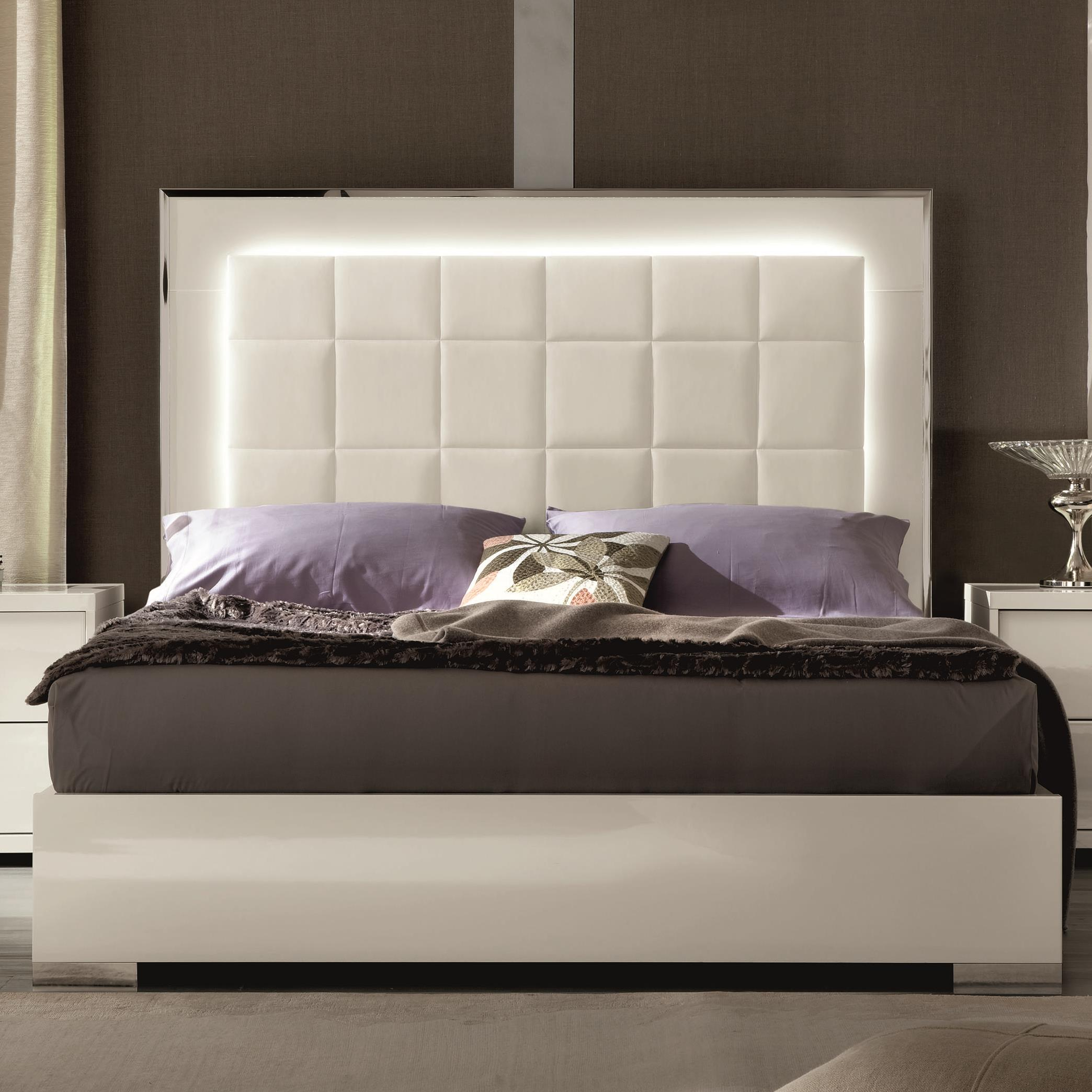 Queen Upholstered Bed with LED Lights