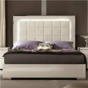 Alf Italia Imperia Queen Upholstered Bed with LED Lights