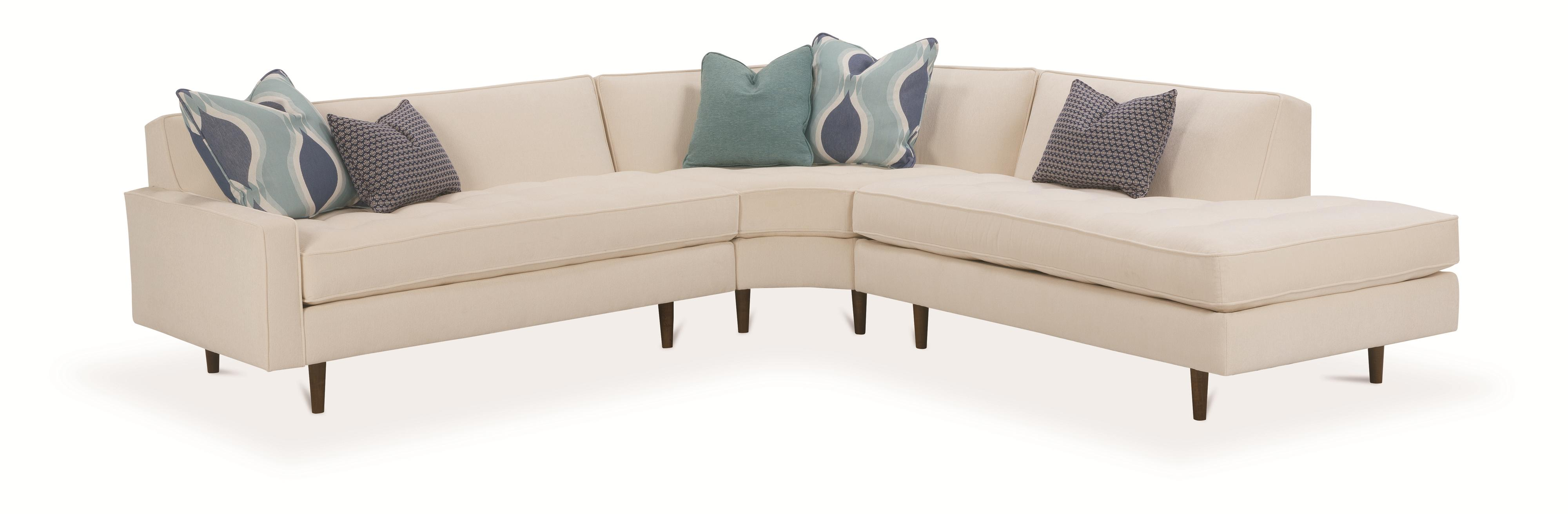 Rowe Brady  Contemporary 3 Piece Sectional Sofa - Item Number: N710-114+011+127
