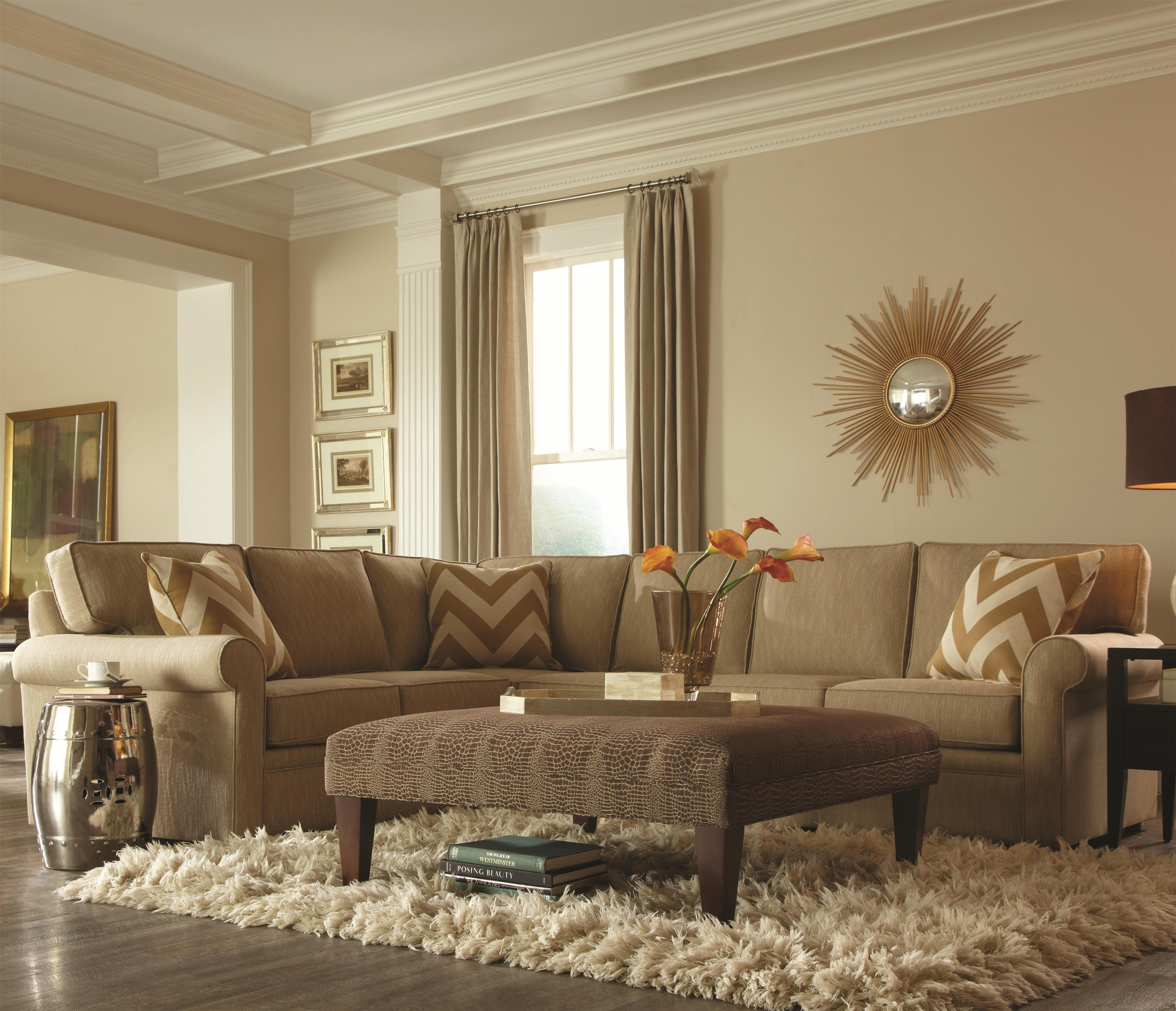 Brentwood Transitional L Shaped Sectional With Rolled Arms By Rowe