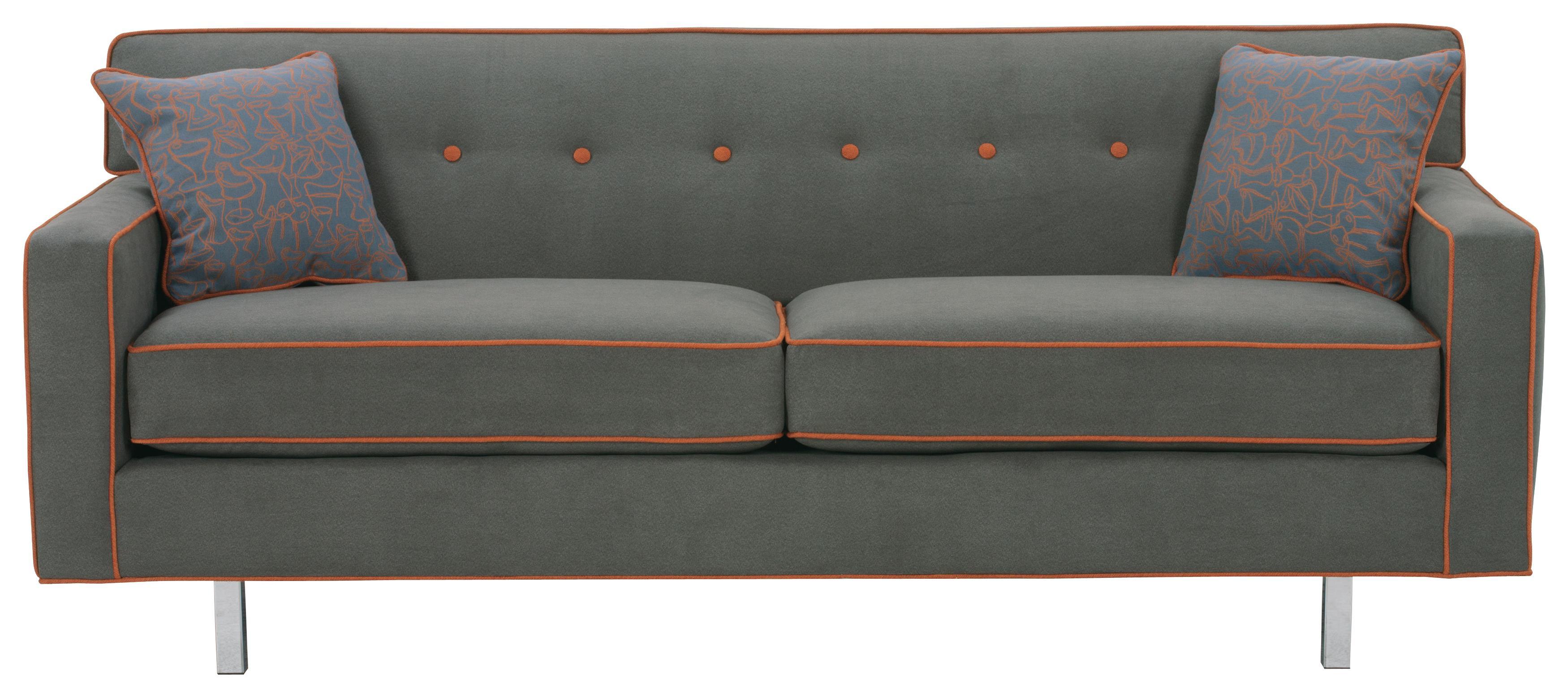 "Rowe Dorset 75"" 2 Cushion Sofa Chrome Legs AHFA Sofa Dealer"