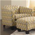 Rowe Easley Contemporary Upholstered Chair with Flared Track Arms and Wood Feet - K701-000