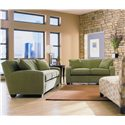 Rowe Horizon Two Seat Fabric Loveseat - Shown in Room Setting with Sofa