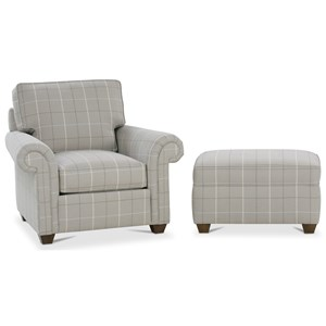 Rowe Morgan Traditional Chair and Ottoman Set