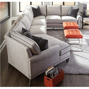 Rowe My Style I & II Transitional Sectional Sofa with Turned Legs